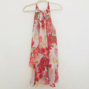 SLNY floral layered-ruffle summer dress